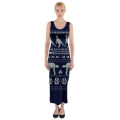 Holiday Party Attire Ugly Christmas Blue Background Fitted Maxi Dress