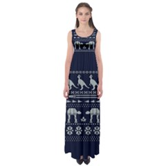 Holiday Party Attire Ugly Christmas Blue Background Empire Waist Maxi Dress
