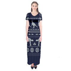 Holiday Party Attire Ugly Christmas Blue Background Short Sleeve Maxi Dress