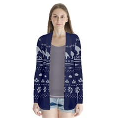 Holiday Party Attire Ugly Christmas Blue Background Cardigans