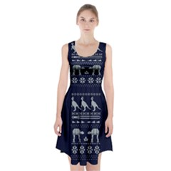 Holiday Party Attire Ugly Christmas Blue Background Racerback Midi Dress