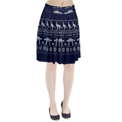 Holiday Party Attire Ugly Christmas Blue Background Pleated Skirt