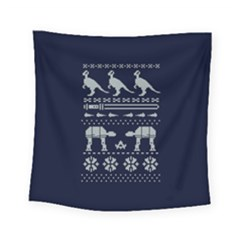 Holiday Party Attire Ugly Christmas Blue Background Square Tapestry (Small)