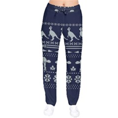 Holiday Party Attire Ugly Christmas Blue Background Drawstring Pants