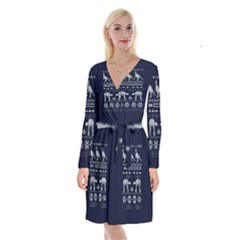 Holiday Party Attire Ugly Christmas Blue Background Long Sleeve Velvet Front Wrap Dress