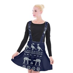 Holiday Party Attire Ugly Christmas Blue Background Suspender Skater Skirt