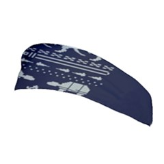 Holiday Party Attire Ugly Christmas Blue Background Stretchable Headband