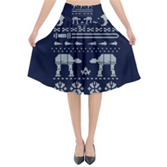 Holiday Party Attire Ugly Christmas Blue Background Flared Midi Skirt