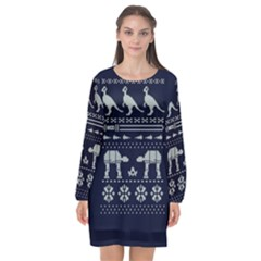 Holiday Party Attire Ugly Christmas Blue Background Long Sleeve Chiffon Shift Dress