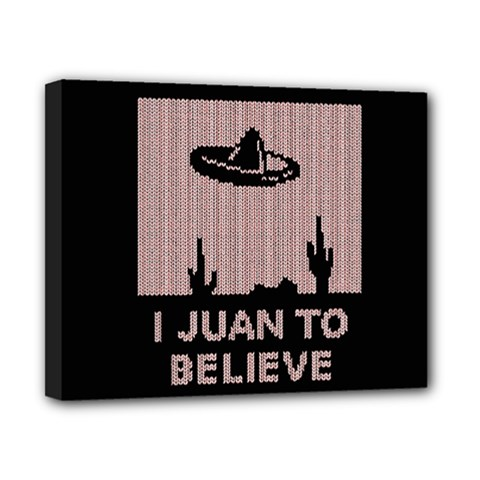 I Juan To Believe Ugly Holiday Christmas Black Background Canvas 10  x 8