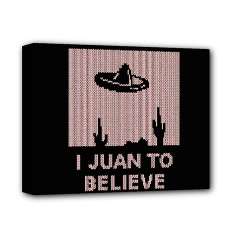 I Juan To Believe Ugly Holiday Christmas Black Background Deluxe Canvas 14  x 11