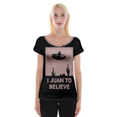 I Juan To Believe Ugly Holiday Christmas Black Background Women s Cap Sleeve Top