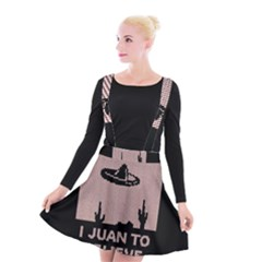 I Juan To Believe Ugly Holiday Christmas Black Background Suspender Skater Skirt