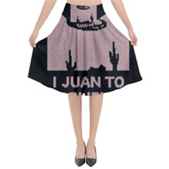 I Juan To Believe Ugly Holiday Christmas Black Background Flared Midi Skirt
