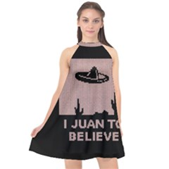 I Juan To Believe Ugly Holiday Christmas Black Background Halter Neckline Chiffon Dress