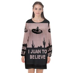 I Juan To Believe Ugly Holiday Christmas Black Background Long Sleeve Chiffon Shift Dress