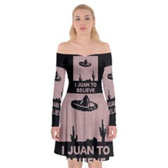 I Juan To Believe Ugly Holiday Christmas Black Background Off Shoulder Skater Dress