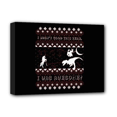 I Wasn t Good This Year, I Was Awesome! Ugly Holiday Christmas Black Background Deluxe Canvas 16  X 12