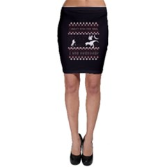 I Wasn t Good This Year, I Was Awesome! Ugly Holiday Christmas Black Background Bodycon Skirt