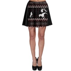 I Wasn t Good This Year, I Was Awesome! Ugly Holiday Christmas Black Background Skater Skirt