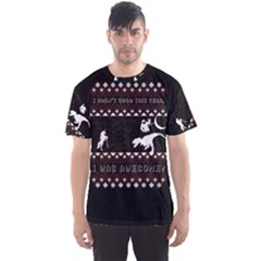 I Wasn t Good This Year, I Was Awesome! Ugly Holiday Christmas Black Background Men s Sport Mesh Tee