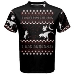 I Wasn t Good This Year, I Was Awesome! Ugly Holiday Christmas Black Background Men s Cotton Tee
