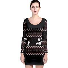 I Wasn t Good This Year, I Was Awesome! Ugly Holiday Christmas Black Background Long Sleeve Bodycon Dress
