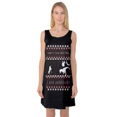 I Wasn t Good This Year, I Was Awesome! Ugly Holiday Christmas Black Background Sleeveless Satin Nightdress