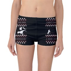 I Wasn t Good This Year, I Was Awesome! Ugly Holiday Christmas Black Background Boyleg Bikini Bottoms