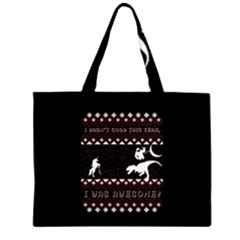 I Wasn t Good This Year, I Was Awesome! Ugly Holiday Christmas Black Background Large Tote Bag