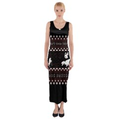 I Wasn t Good This Year, I Was Awesome! Ugly Holiday Christmas Black Background Fitted Maxi Dress