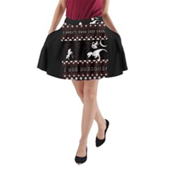 I Wasn t Good This Year, I Was Awesome! Ugly Holiday Christmas Black Background A-Line Pocket Skirt