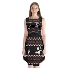 I Wasn t Good This Year, I Was Awesome! Ugly Holiday Christmas Black Background Sleeveless Chiffon Dress