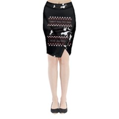 I Wasn t Good This Year, I Was Awesome! Ugly Holiday Christmas Black Background Midi Wrap Pencil Skirt
