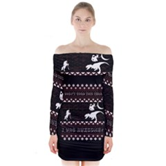 I Wasn t Good This Year, I Was Awesome! Ugly Holiday Christmas Black Background Long Sleeve Off Shoulder Dress