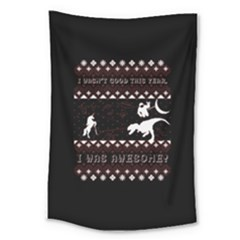 I Wasn t Good This Year, I Was Awesome! Ugly Holiday Christmas Black Background Large Tapestry