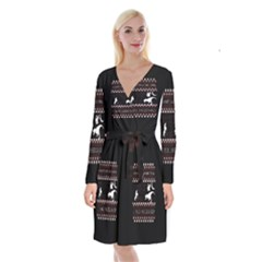I Wasn t Good This Year, I Was Awesome! Ugly Holiday Christmas Black Background Long Sleeve Velvet Front Wrap Dress