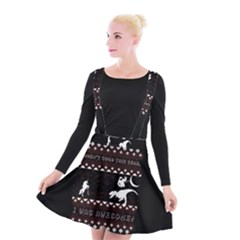 I Wasn t Good This Year, I Was Awesome! Ugly Holiday Christmas Black Background Suspender Skater Skirt