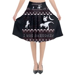 I Wasn t Good This Year, I Was Awesome! Ugly Holiday Christmas Black Background Flared Midi Skirt