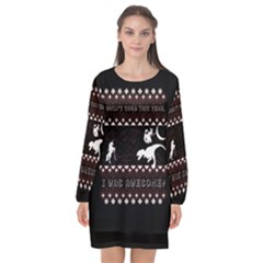 I Wasn t Good This Year, I Was Awesome! Ugly Holiday Christmas Black Background Long Sleeve Chiffon Shift Dress