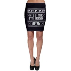 Kiss Me I m Irish Ugly Christmas Black Background Bodycon Skirt