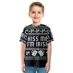 Kiss Me I m Irish Ugly Christmas Black Background Kids  Sport Mesh Tee