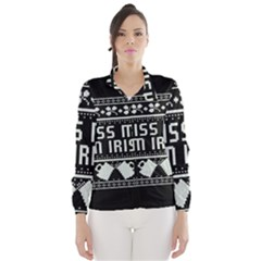 Kiss Me I m Irish Ugly Christmas Black Background Wind Breaker (Women)