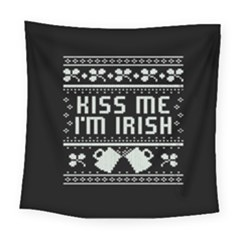 Kiss Me I m Irish Ugly Christmas Black Background Square Tapestry (Large)