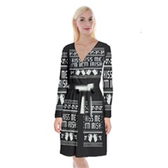 Kiss Me I m Irish Ugly Christmas Black Background Long Sleeve Velvet Front Wrap Dress