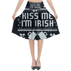 Kiss Me I m Irish Ugly Christmas Black Background Flared Midi Skirt