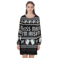 Kiss Me I m Irish Ugly Christmas Black Background Long Sleeve Chiffon Shift Dress