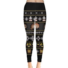 Merry Nerdmas! Ugly Christma Black Background Leggings