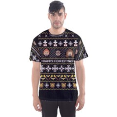 Merry Nerdmas! Ugly Christma Black Background Men s Sport Mesh Tee
