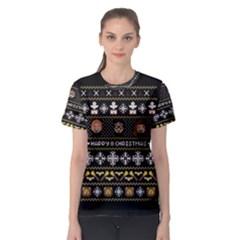 Merry Nerdmas! Ugly Christma Black Background Women s Sport Mesh Tee